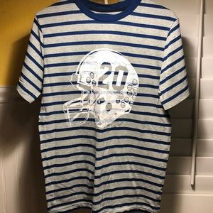 Striped Blue and Gray Skull Football Tee for Boys